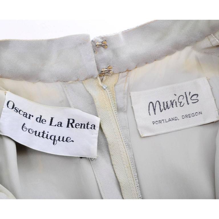 1970s Oscar de la Renta Vintage Dress in Metallic Sheer Organza Over Pants 6 For Sale 2