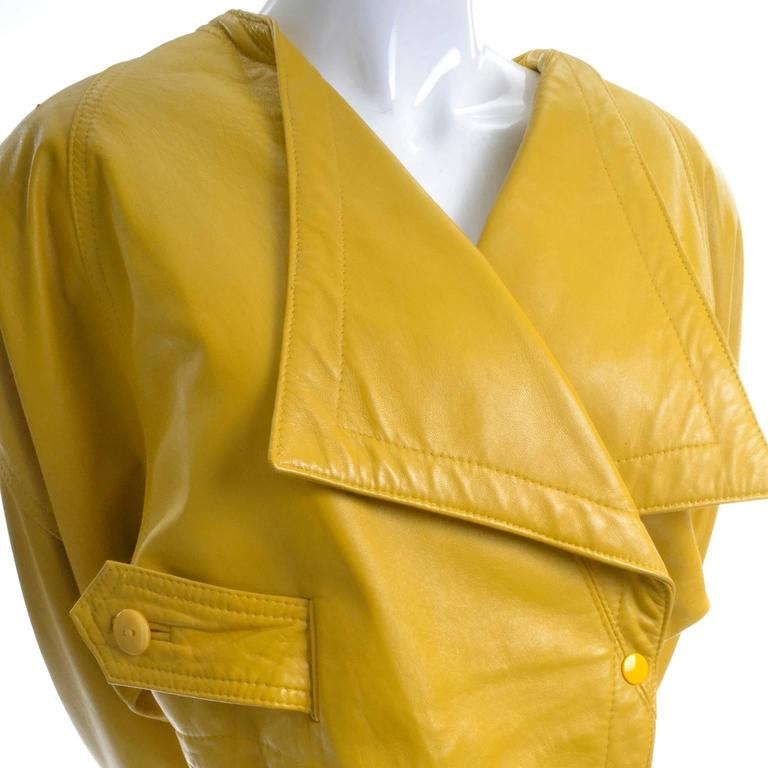 Giovinezza Moda Rocco D'Amelio Avant Garde Vintage 1980's Yellow Leather Jacket 3