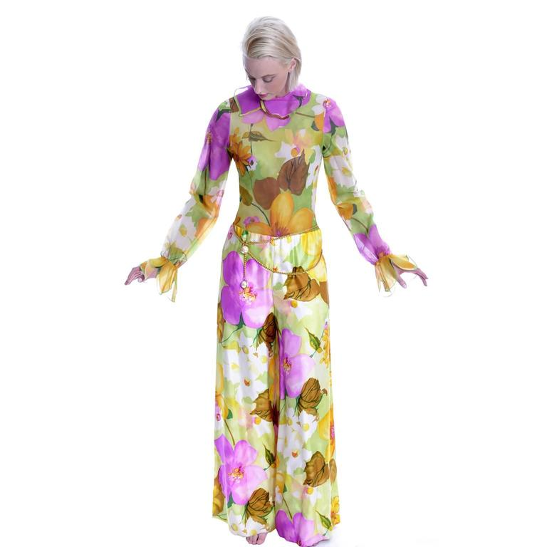 Deadstock Vintage Tina Leser Jumpsuit & Vest In Bold Floral Satin & Chiffon In New Never_worn Condition For Sale In Portland, OR