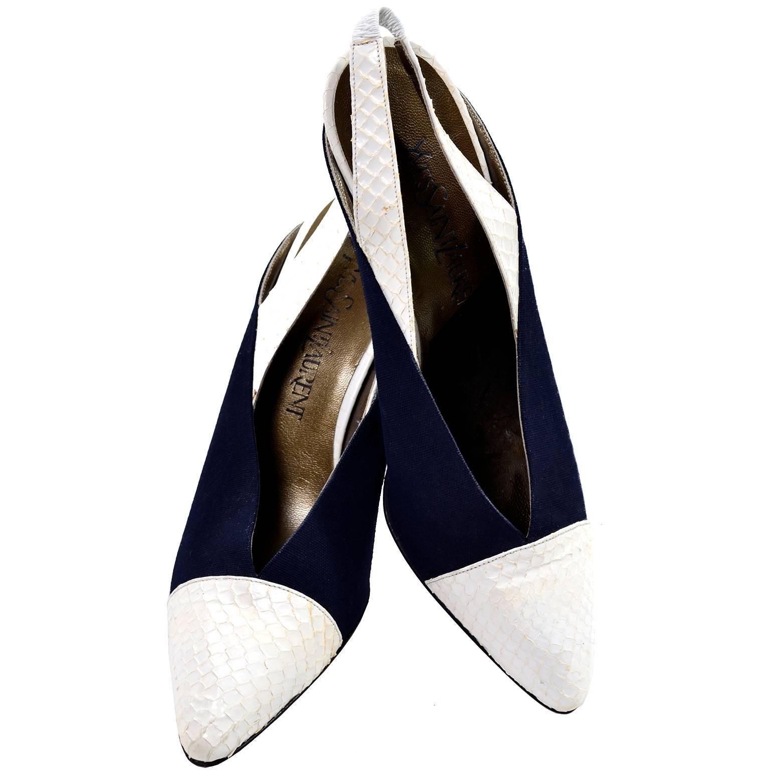5b2f7d8ce51 Yves Saint Laurent Vintage Shoes YSL Snakeskin Slingback Heels 8N For Sale  at 1stdibs
