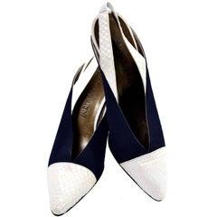 Yves Saint Laurent Vintage Shoes YSL Snakeskin Slingback Heels 8N