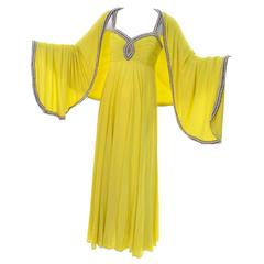 1960s Beaded Vintage Dress in Chartreuse Silk W Rhinestones & Keyhole W/ Wrap