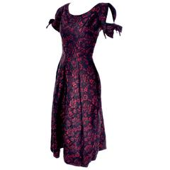 1950s Suzy Perette Red Brocade Floral Vintage Cocktail Dress Dramatic Sleeves 6