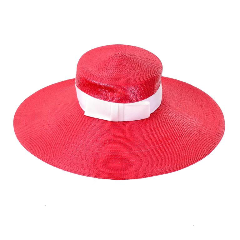 YSL Cherry Red Wide Brim Vintage Straw Hat Yves Saint Laurent 4