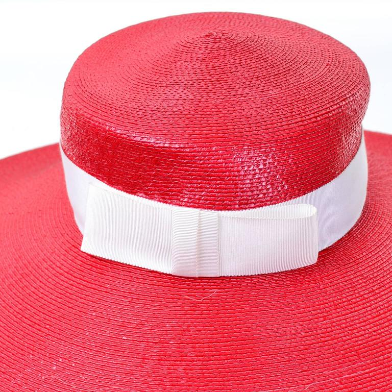 YSL Cherry Red Wide Brim Vintage Straw Hat Yves Saint Laurent 6