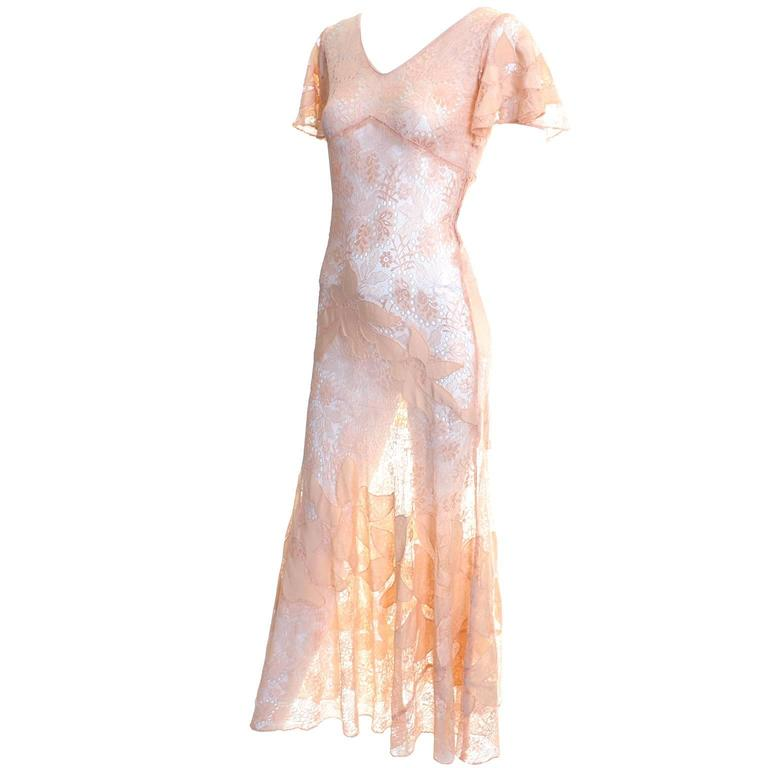 1930s Bias Silk & Lace Vintage Dress in Peach W Appliqués Butterfly Sleeves In Excellent Condition For Sale In Portland, OR