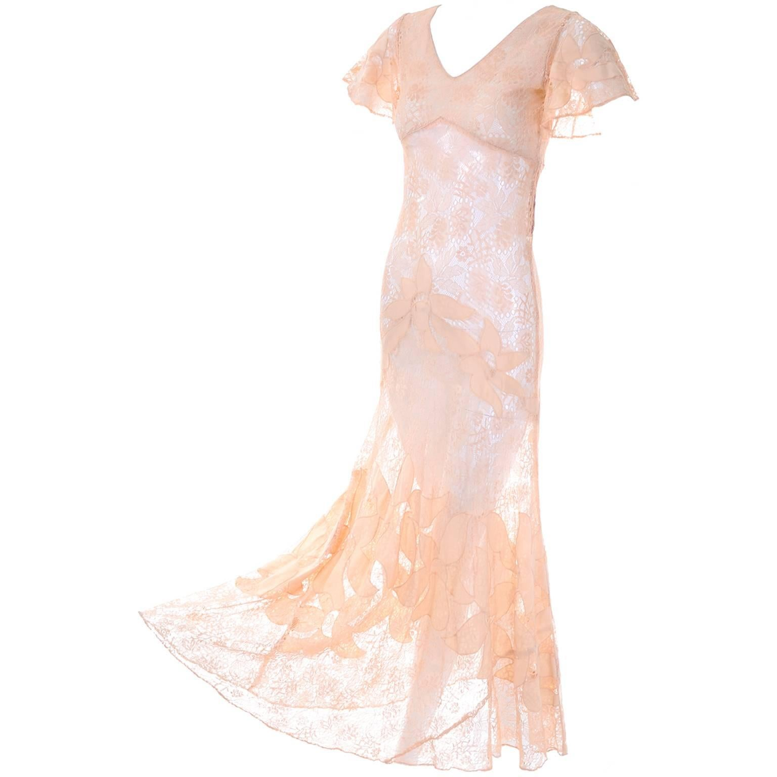 1930s Bias Silk and Lace Vintage Dress in Peach W Appliqués ...
