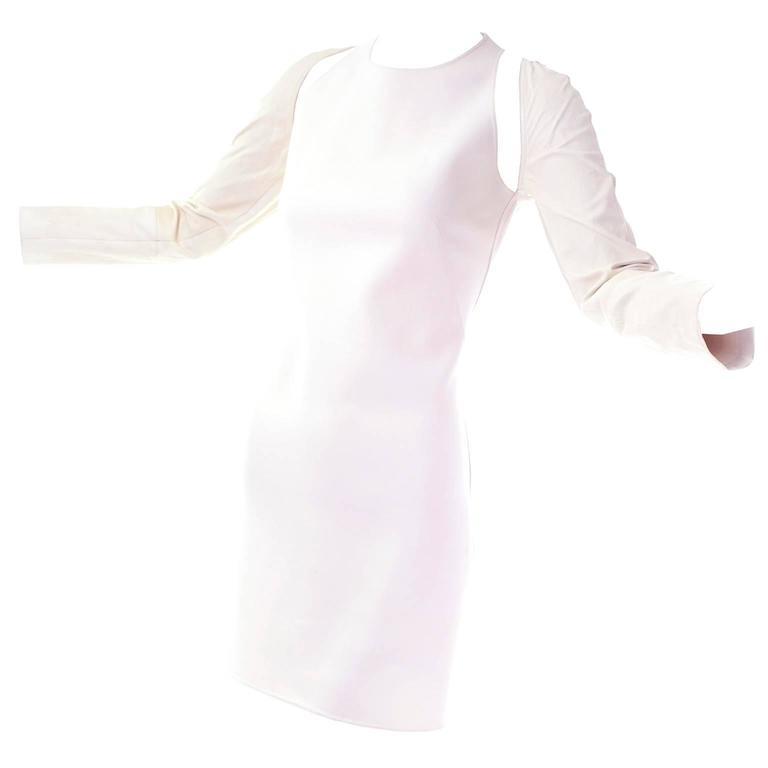 Kaufmanfranco Ivory Shift Dress With Cutwork Slashes & Lambskin Sleeves 8/10