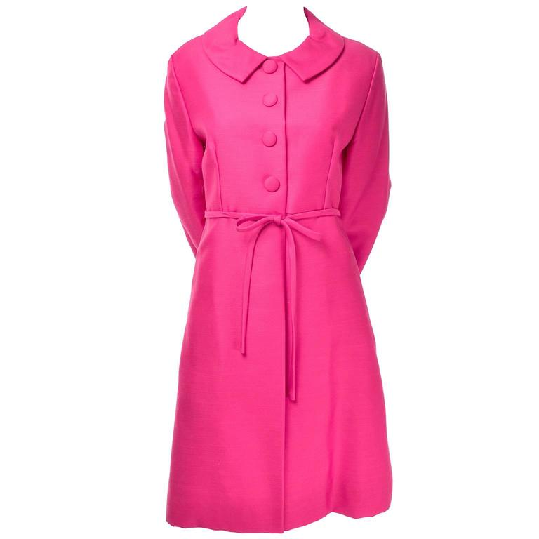 1960s Emma Domb Pink Dress and Coat Suit Ensemble Excellent Condition In Excellent Condition For Sale In Portland, OR