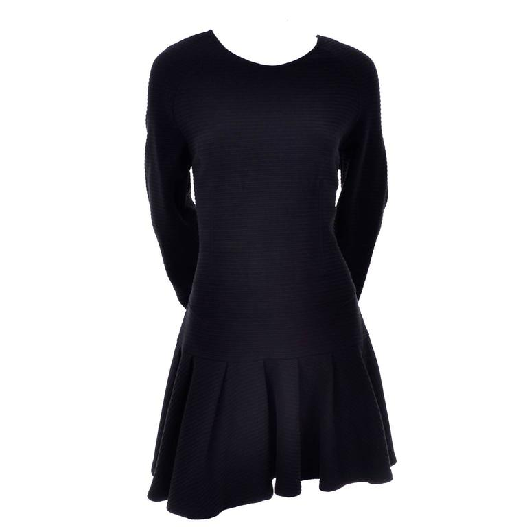 Kenzo Paris Vintage Black Ribbed Knit Low Back Dress With Asymmetrical Hem L