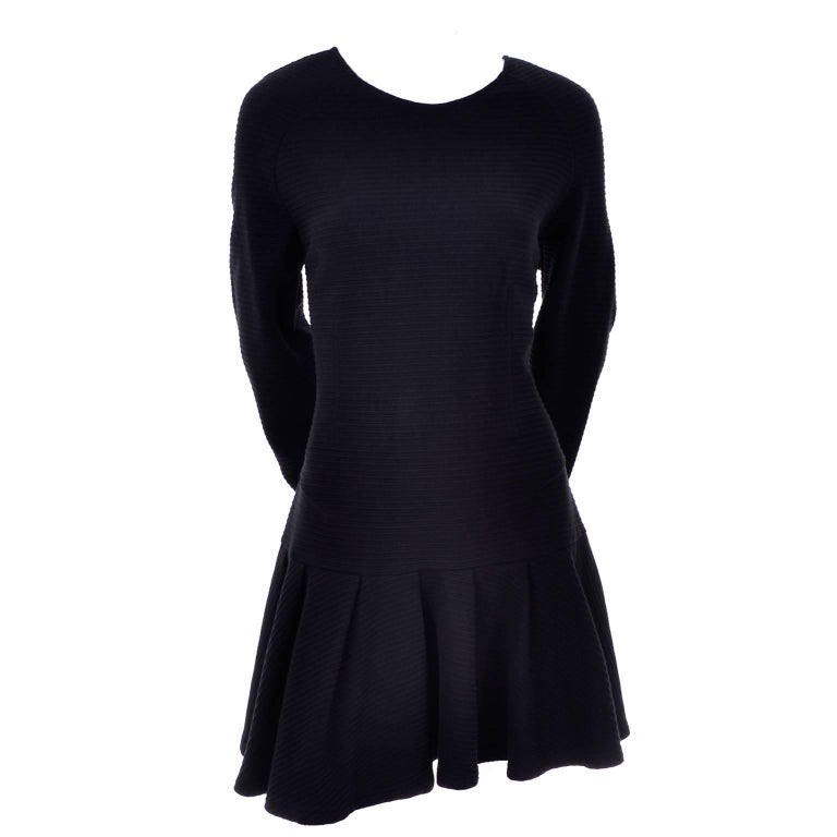 Kenzo Paris Vintage Black Ribbed Knit Low Back Skater Dress W Asymmetrical Hem L