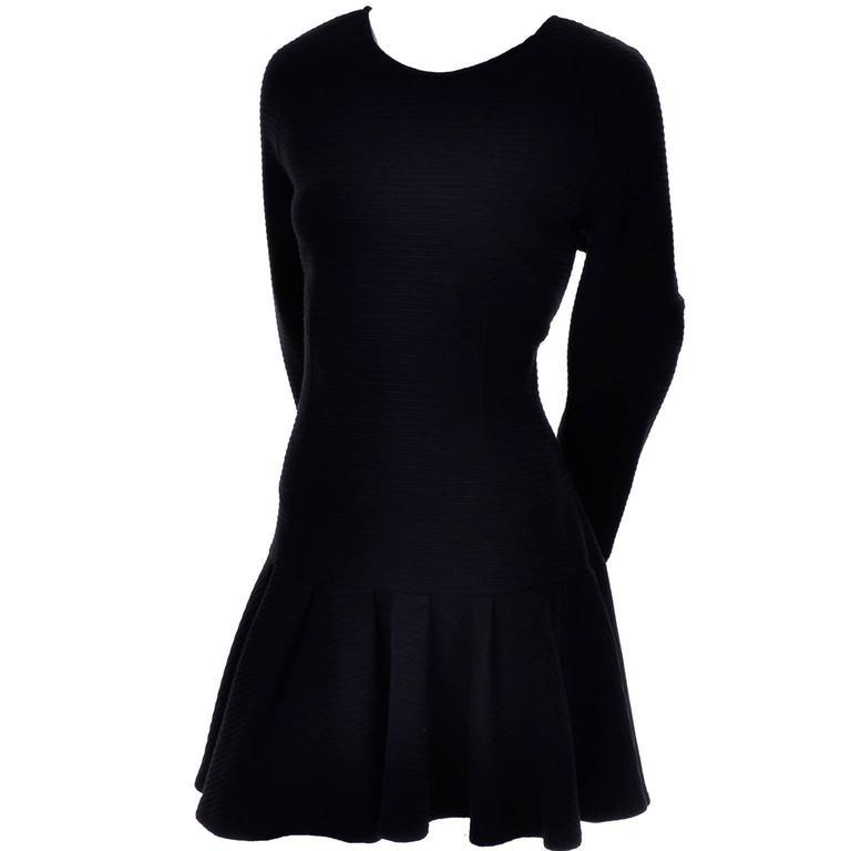 Kenzo Paris Vintage Black Ribbed Knit Low Back Skater Dress W Asymmetrical Hem L In Excellent Condition In Portland, OR