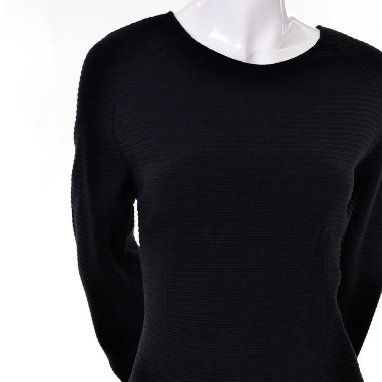 Women's Kenzo Paris Vintage Black Ribbed Knit Low Back Skater Dress W Asymmetrical Hem L