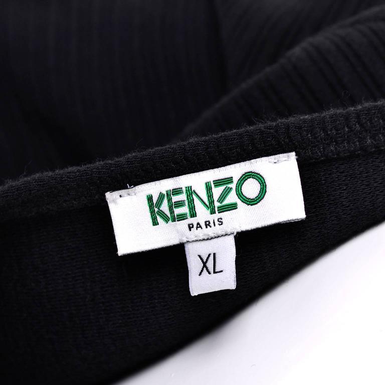 Kenzo Paris Vintage Black Ribbed Knit Low Back Skater Dress W Asymmetrical Hem L 1