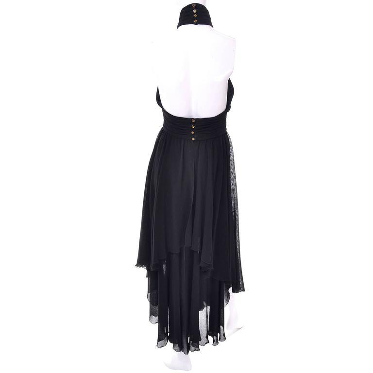 Women's Chanel Vintage Asymmetrical Halter Dress with Camellia Bolero Jacket, 1994 For Sale