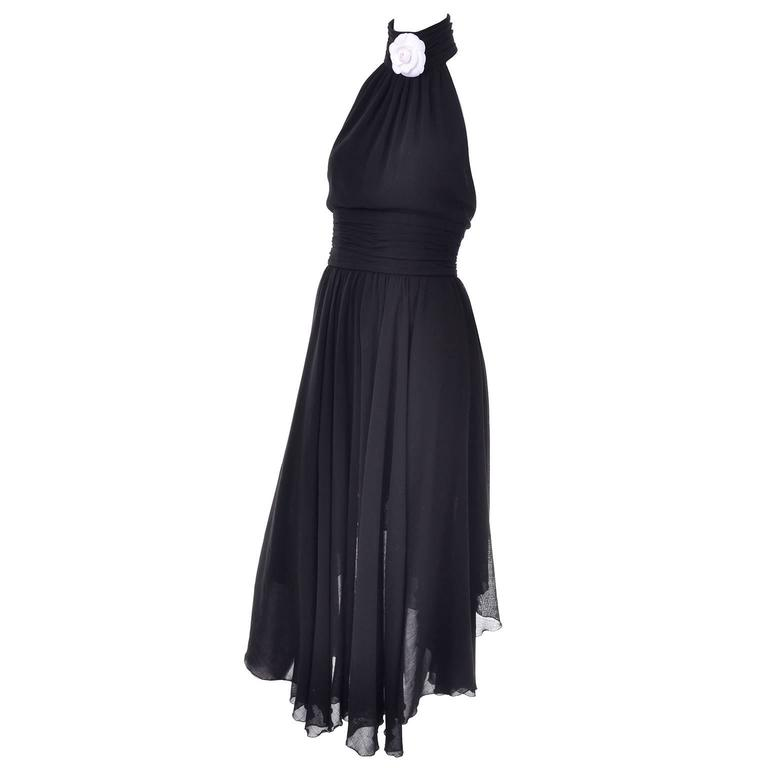 Chanel Vintage Asymmetrical Halter Dress with Camellia Bolero Jacket, 1994 For Sale 1