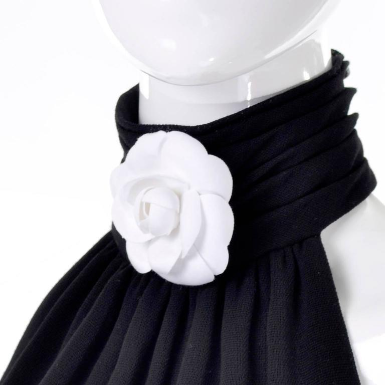 Black Chanel Vintage Asymmetrical Halter Dress with Camellia Bolero Jacket, 1994 For Sale