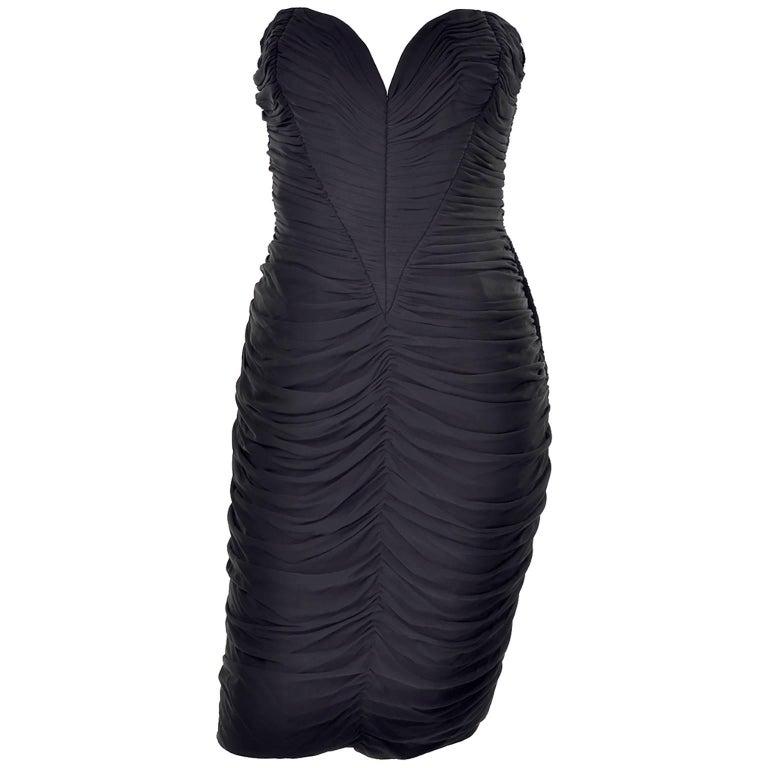 Documented Vintage 1986 Bodycon Vicky Tiel Strapless Black Dress W/ Heart Bodice For Sale