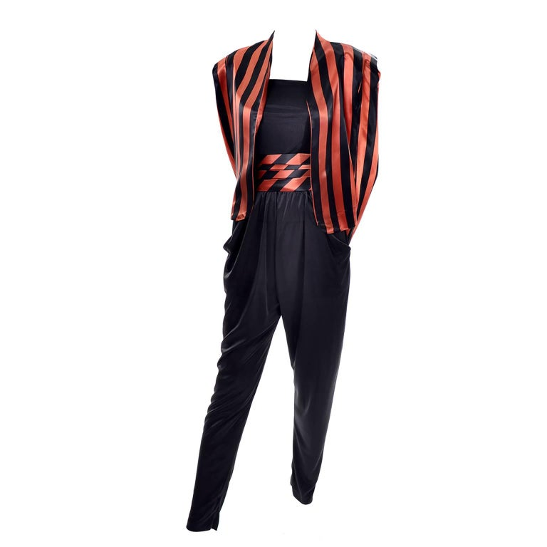 Orange / Black Vintage Halloween Jumpsuit Striped Satin Jacket & Cummerbund  For Sale