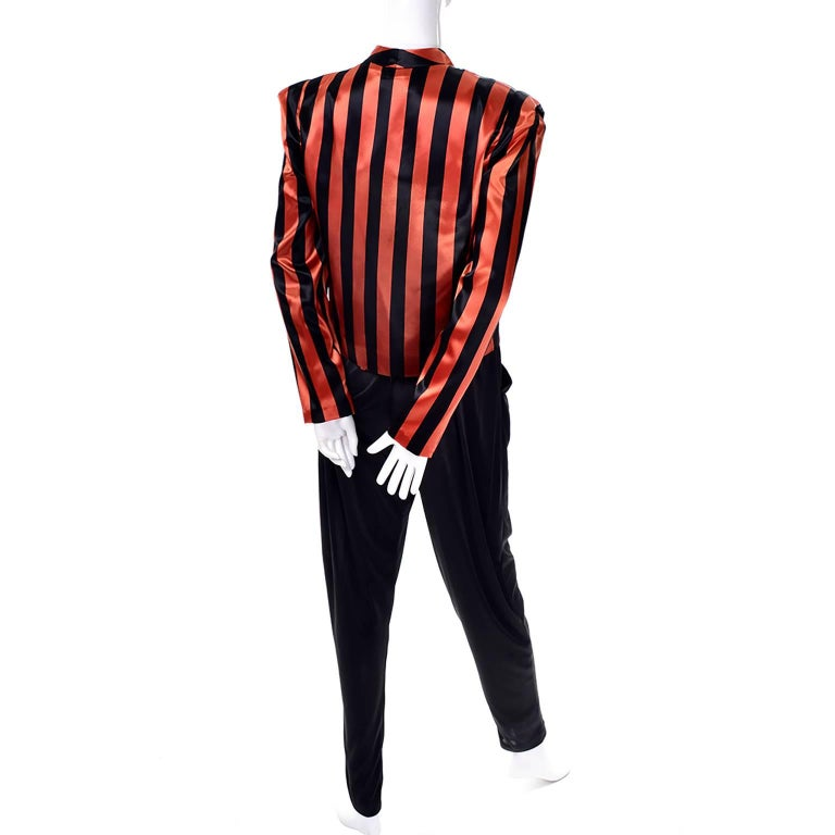 Orange / Black Vintage Halloween Jumpsuit Striped Satin Jacket & Cummerbund  For Sale 3