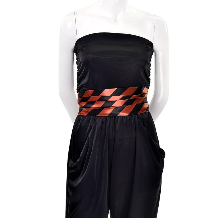 Orange / Black Vintage Halloween Jumpsuit Striped Satin Jacket & Cummerbund  In Excellent Condition For Sale In Portland, OR