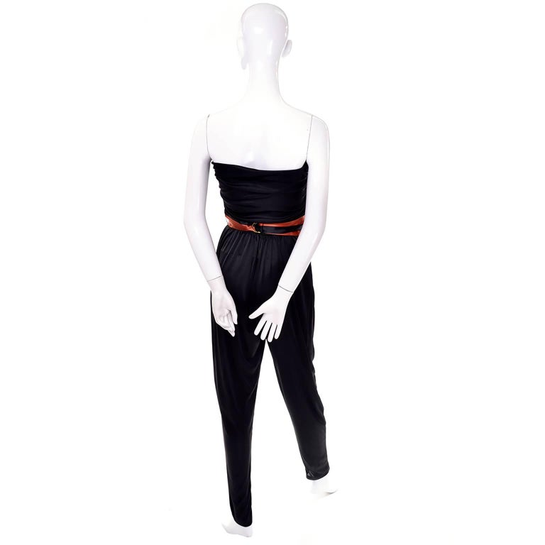 Orange / Black Vintage Halloween Jumpsuit Striped Satin Jacket & Cummerbund  For Sale 2