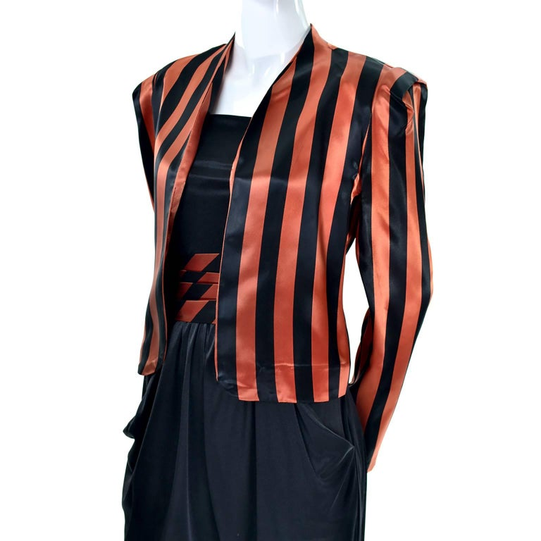 Women's Orange / Black Vintage Halloween Jumpsuit Striped Satin Jacket & Cummerbund  For Sale