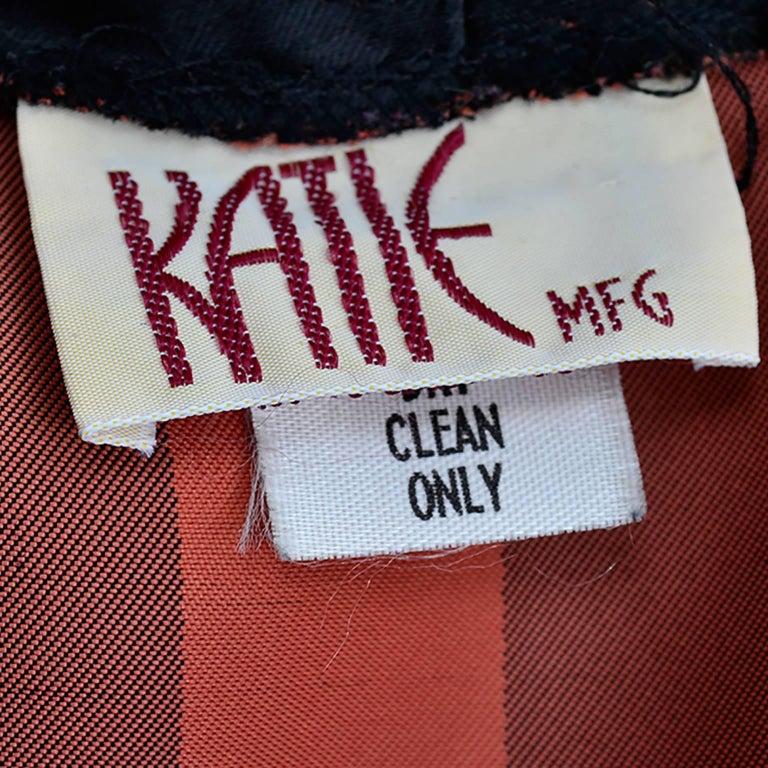 Orange / Black Vintage Halloween Jumpsuit Striped Satin Jacket & Cummerbund  For Sale 4
