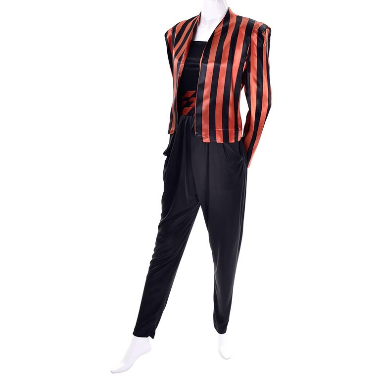 Orange / Black Vintage Halloween Jumpsuit Striped Satin Jacket & Cummerbund  For Sale 1