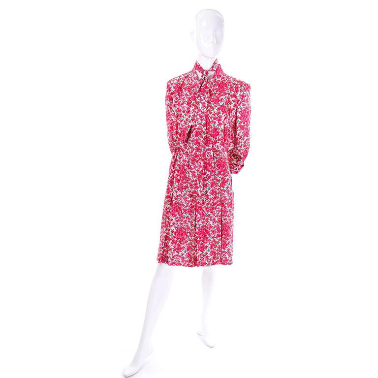 Yves Saint Laurent YSL Vintage Pink Floral Silk Dress With Sash 1970s  8