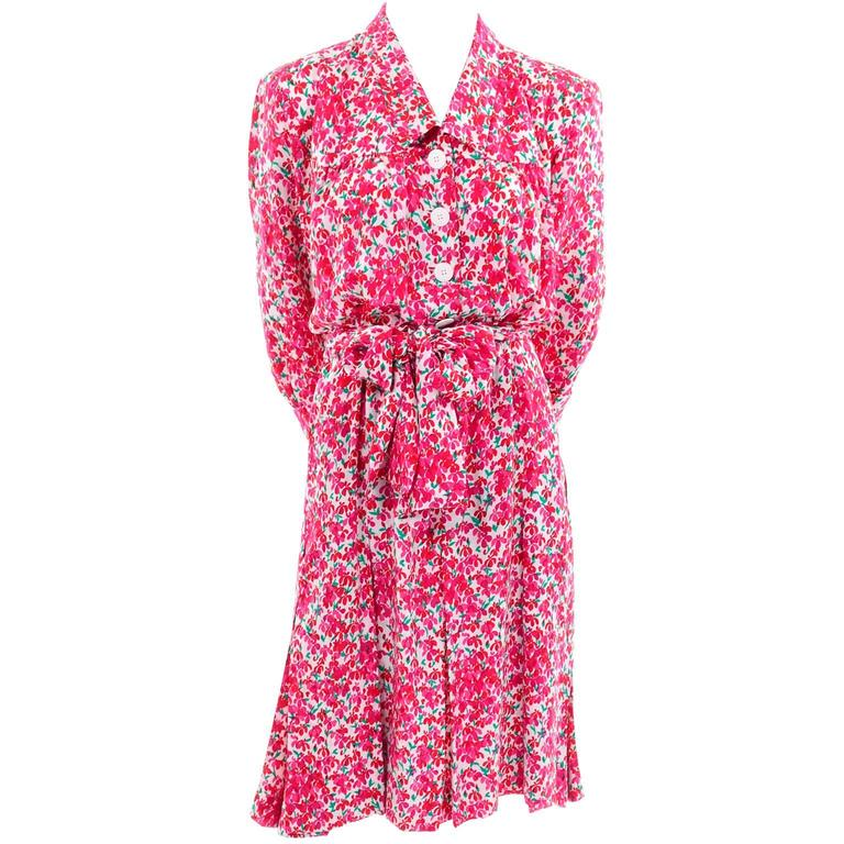 1970s Yves Saint Laurent YSL Vintage Dress in Pink Floral Silk Print