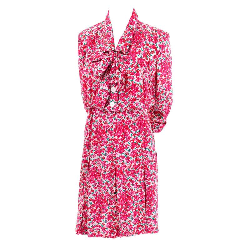 Yves Saint Laurent YSL Vintage Pink Floral Silk Dress With Sash 1970s  4