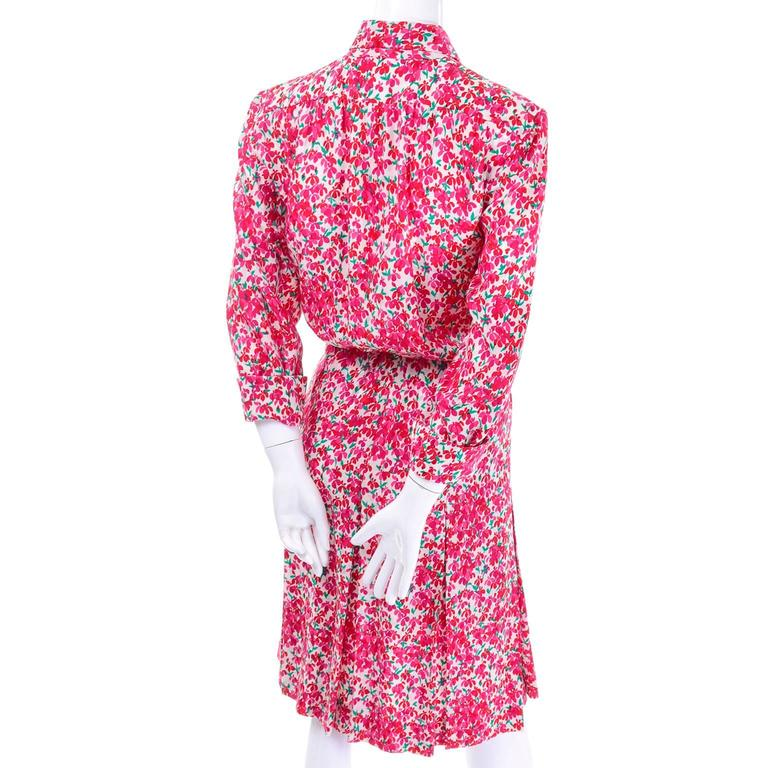 Yves Saint Laurent YSL Vintage Pink Floral Silk Dress With Sash 1970s  5