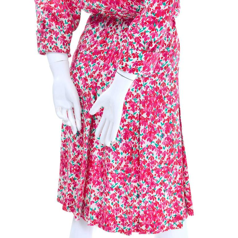 Yves Saint Laurent YSL Vintage Pink Floral Silk Dress With Sash 1970s  9