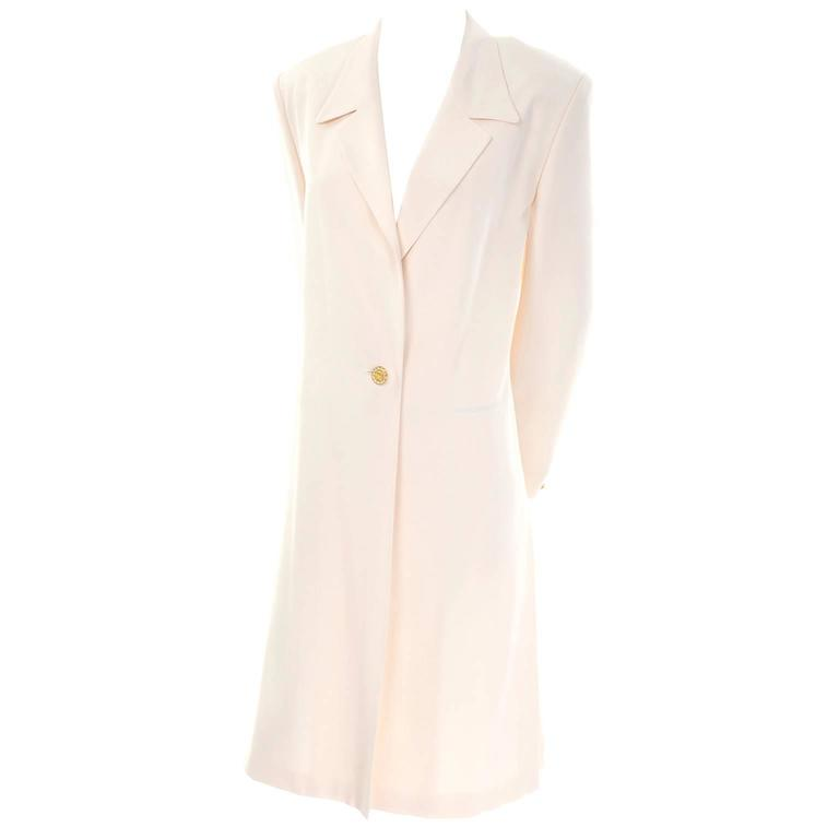 Vintage Escada Couture Creamy Ivory Silk Evening Coat Gold Rhinestone Buttons 38