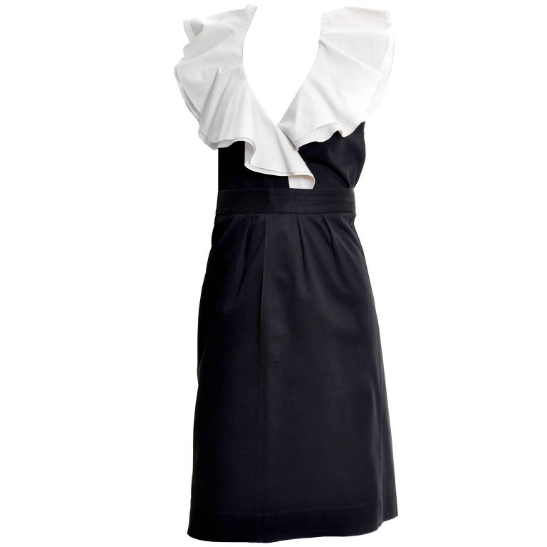 Women's 1980s Yves Saint Laurent Black Cotton 2 pc Dress with White Ruffled Collar For Sale