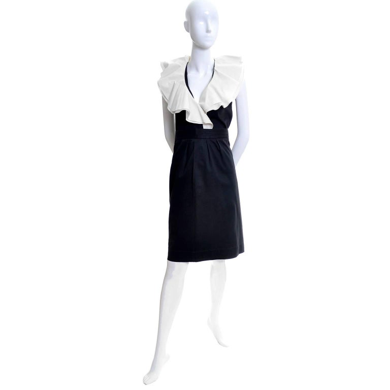 1980s Yves Saint Laurent Black Cotton 2 pc Dress with White Ruffled Collar In Excellent Condition For Sale In Portland, OR