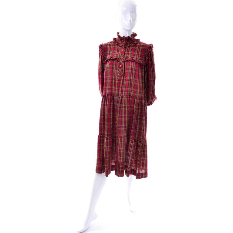 Brown 1978 Vintage Yves Saint Laurent YSL Plaid Wool Dress with Ruffles Documented For Sale