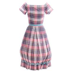 Rare Documented 1950s Vintage Clare Potter Dress in Pink & Blue Plaid