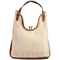 Hermes Massai Cut Handbag in Beige Canvas With Full Leather Lining and Trim