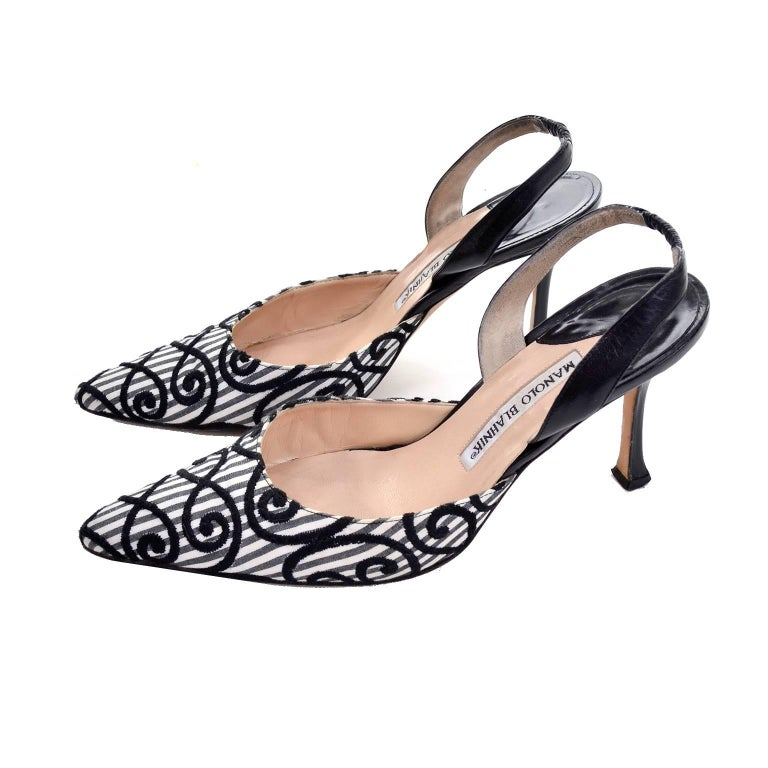 f76f0e62127 Manolo Blahnik Carolyne Sling Back Shoes in Black   White Swirls Size 37.5  For Sale