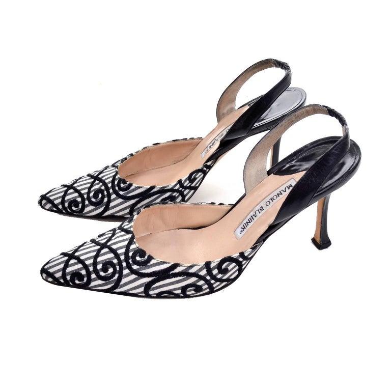 Manolo Blahnik Carolyne Sling Back Shoes in Black & White Swirls Size 37.5 For Sale