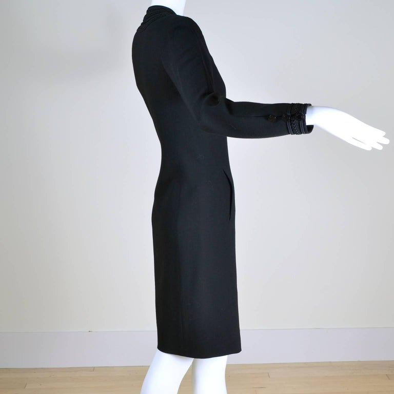 YSL Vintage Yves Saint Laurent Black Dress W/ Braided Soutache Trim 8/10 For Sale 1