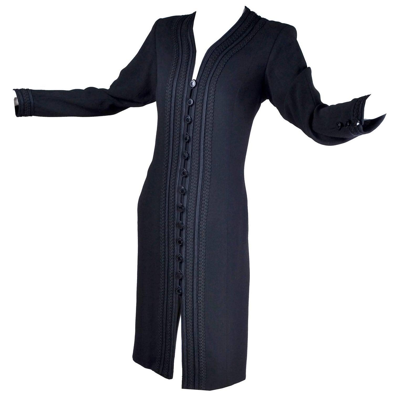 6a537122f4 YSL Vintage Yves Saint Laurent Black Dress W  Braided Soutache Trim 8 10