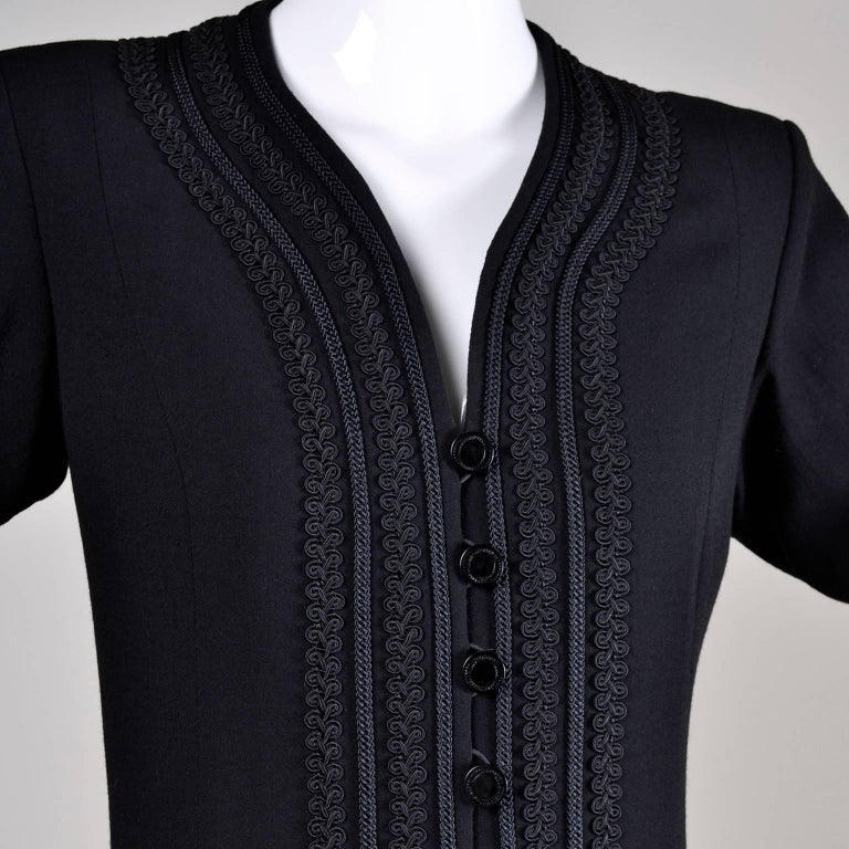 YSL Vintage Yves Saint Laurent Black Dress W/ Braided Soutache Trim 8/10 For Sale 3