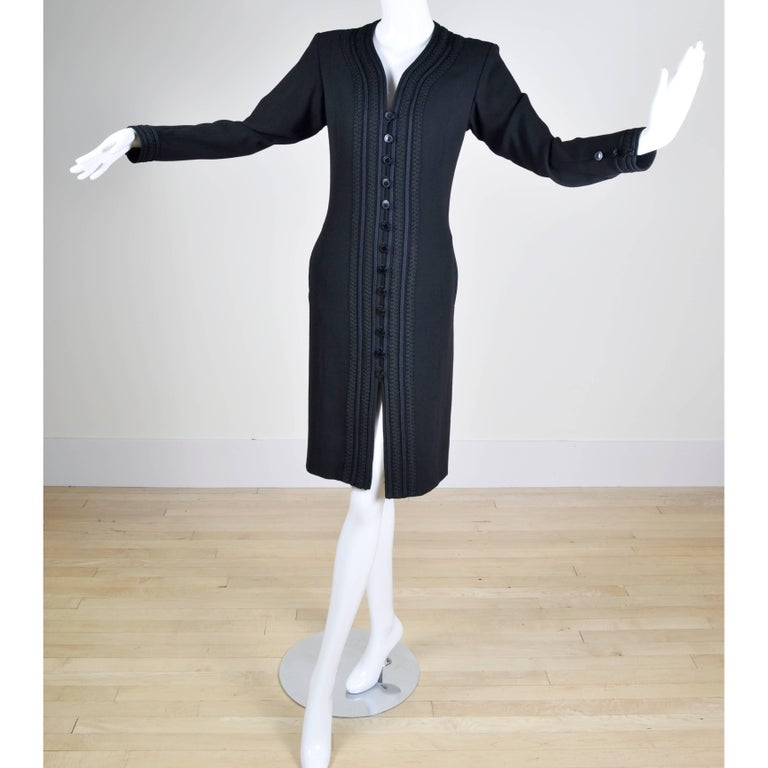 YSL Vintage Yves Saint Laurent Black Dress W/ Braided Soutache Trim 8/10 In Excellent Condition For Sale In Portland, OR