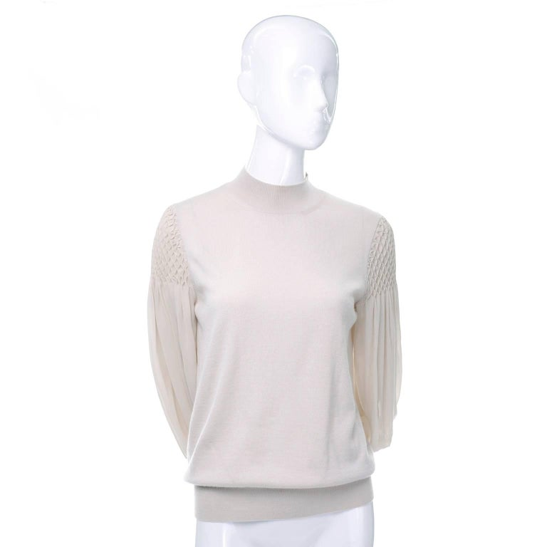 Women's Louis Vuitton Sand Silk Cashmere Sweater with Smocking and Bishop Sleeves