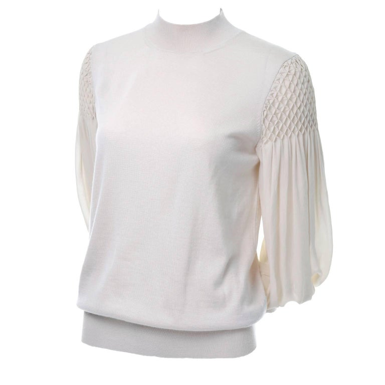 Louis Vuitton Sand Silk Cashmere Sweater with Smocking and Bishop Sleeves 10/12
