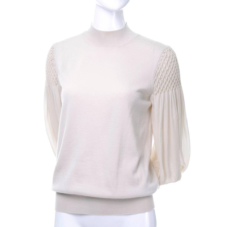 Louis Vuitton Sand Silk Cashmere Sweater with Smocking and Bishop Sleeves  1