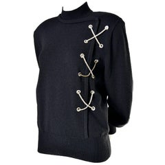 1980s Vintage Black Wool Sweater With Rhinestone X Novelty Design